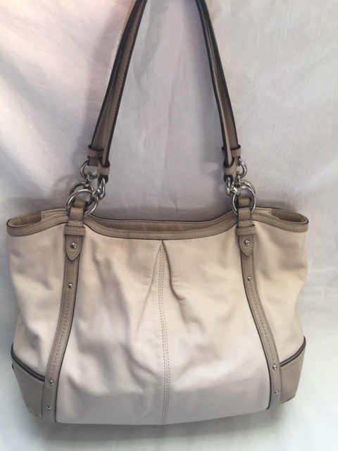 d0fb591467 COACH Off-White Leather Two-Tone Hobo Bag Purse [383] - $49.95 : Zen ...